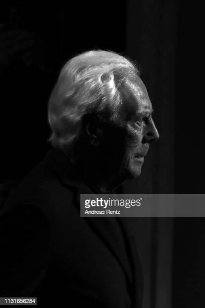 Fashion designer Giorgio Armani acknowledges the applause of the audience after Giorgio Armani show at Milan Fashion Week Autumn/Winter 2019/20 on...