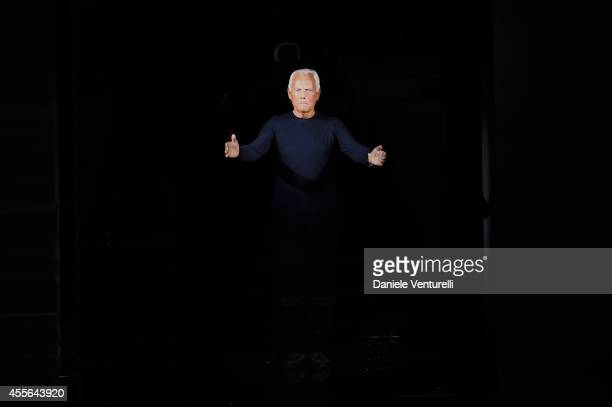 Fashion designer Giorgio Armani acknowledges the applause of the audience after the Emporio Armani show as part of Milan Fashion Week Womenswear...