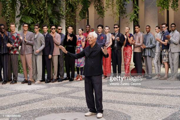 Fashion designer Giorgio Armani acknowledges the audience at the Giorgio Armani fashion show during the Milan Men's Fashion Week Spring/Summer 2020...