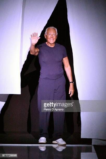 Fashion designer Giorgio Armani acknowledges the audience at the Giorgio Armani show during Milan Men's Fashion Week Spring/Summer 2019 on June 18...