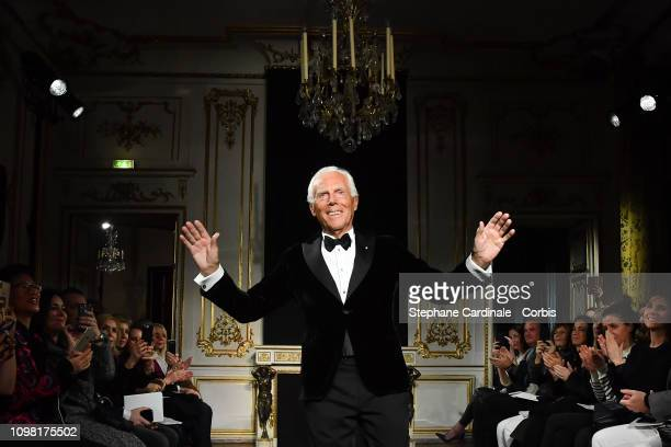 Fashion designer Giorgio Armani acknowledges the audience during the Giorgio Armani Prive Spring Summer 2019 show as part of Paris Fashion Week on...
