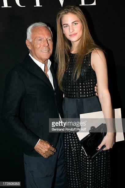 Fashion Designer Giorgio Armani and actress Solene Hebert after the Giorgio Armani Prive show as part of Paris Fashion Week HauteCouture Fall/Winter...