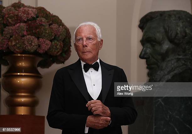 Fashion designer Giorgio Armani arrives at the White House for a state dinner October 18 2016 in Washington DC US President Barack Obama is hosting a...