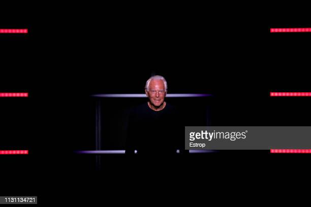 Fashion designer Giorgio Armani at the Emporio Armani show at Milan Fashion Week Autumn/Winter 2019/20 on February 20 2019 in Milan Italy