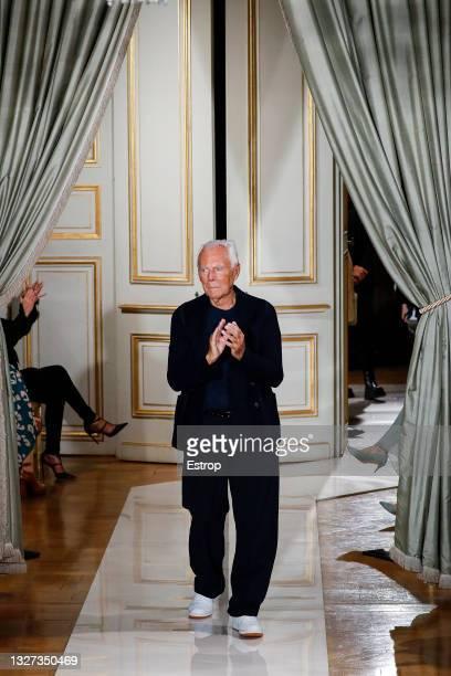 Fashion designer Giorgio Armani at the Giorgio Armani Prive Haute Couture Fall/Winter 2021/2022 show as part of Paris Fashion Week on July 6, 2021 in...