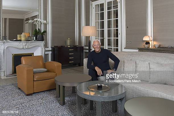 Fashion designer Giorgio Armani is photographed at his home in SaintGermaindesPres decorated in the Armani Casa style for Paris Match on October 2...