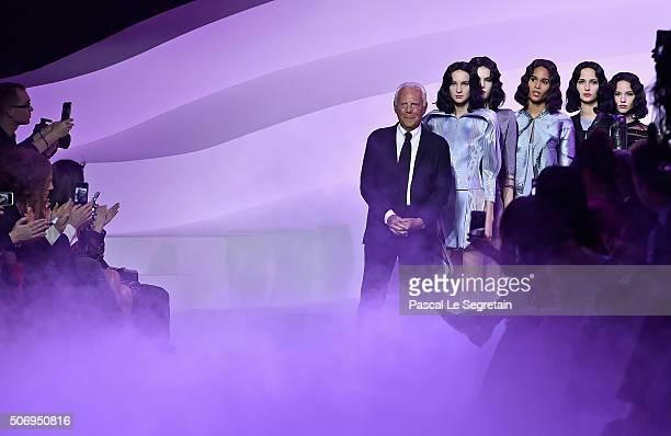 Fashion designer Giorgio Armani on the runway during the Giorgio Armani Prive Spring Summer 2016 show as part of Paris Fashion Week on January 26...