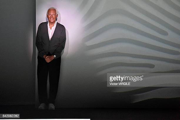 Fashion designer Giorgio Armani walks the runway at the Emporio Armani show during Milan Men's Fashion Week Spring/Summer 2017 on June 20 2016 in...