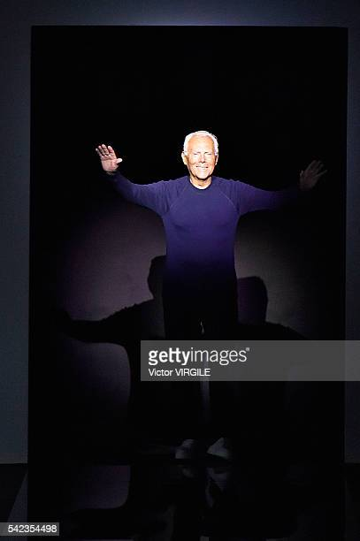 Fashion designer Giorgio Armani walks the runway at the Giorgio Armani show during Milan Men's Fashion Week Spring/Summer 2017 on June 21 2016 in...
