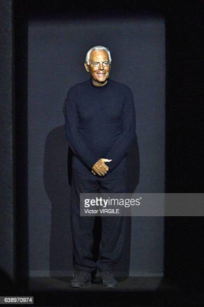 Fashion designer Giorgio Armani walks the runway at the Giorgio Armani show during M Milan Men's Fashion Week Fall/Winter 2017/18 on January 17 2017...