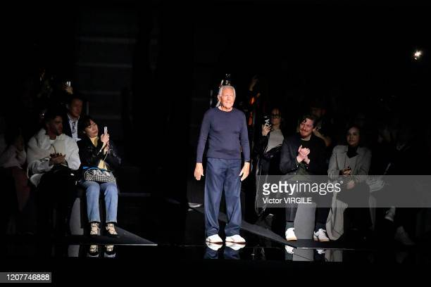 Fashion designer Giorgio Armani walks the runway during the Emporio Armani Ready to Wear Fall/Winter 20202021 fashion show as part of Milan Fashion...