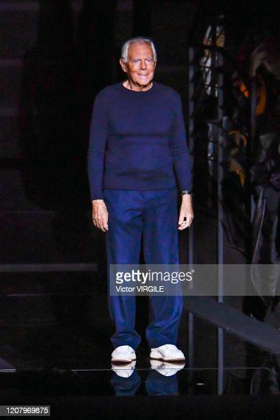 Fashion designer Giorgio Armani walks the runway during the Emporio Armani Ready to Wear Fall/Winter 2020-2021 fashion show as part of Milan Fashion...