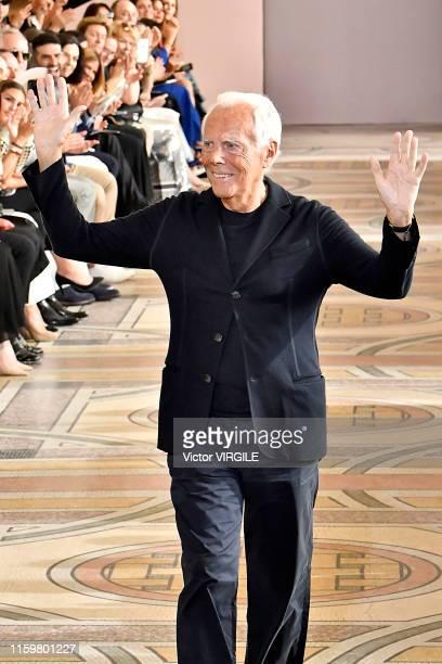 Fashion designer Giorgio Armani walks the runway during the Giorgio Armani Prive Haute Couture Fall/Winter 2019 2020 show as part of Paris Fashion...