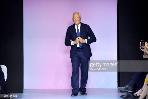 Fashion designer Giorgio Armani walks the runway during the Giorgio Armani Prive Haute Couture Spring/Summer 2020 fashion show as part of Paris...