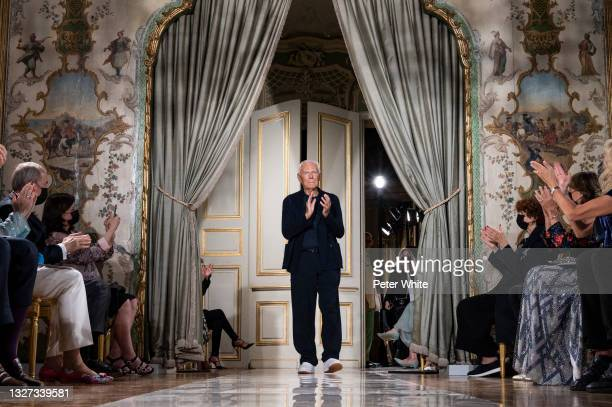 Fashion designer Giorgio Armani walks the runway during the Giorgio Armani Prive Couture Haute Couture Fall/Winter 2021/2022 show as part of Paris...