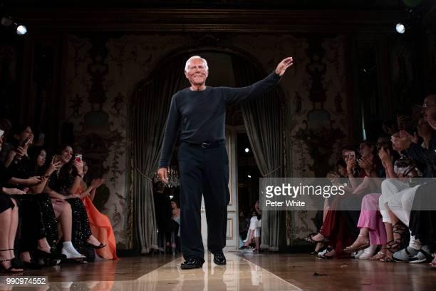 Fashion designer Giorgio Armani walks the runway during the Giorgio Armani Prive Haute Couture Fall Winter 2018/2019 show as part of Paris Fashion...