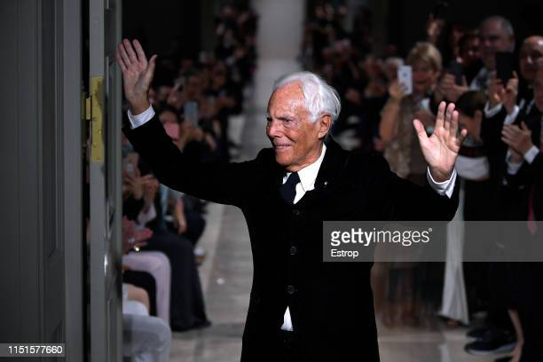 Fashion designer Giorgio Armanil walks the runway during the Giorgio Armani Cruise 2020 Collection at the Tokyo National Museum on May 24 2019 in...