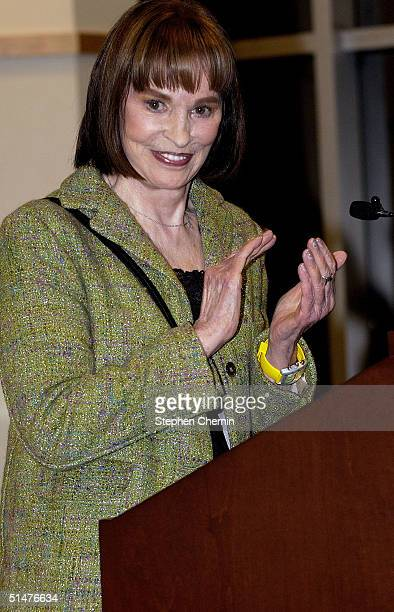 """Fashion designer Gloria Vanderbilt speaks during a store appearance for her new book """"It Seemed Important At The Time"""" October 13, 2004 at Barnes and..."""