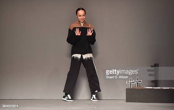 Fashion designer Grace Wales Bonner on the runway during the MAN show at the London Collections Men AW16 at the Topman Show Space on January 8 2016...
