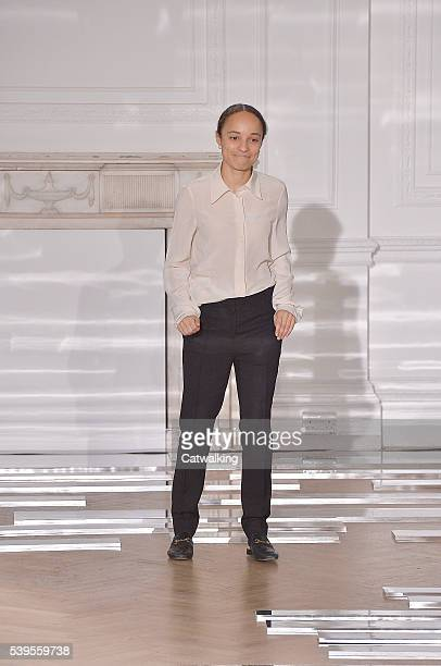 Fashion designer Grace Wales Bonner walks the runway at the Wales Bonner Spring Summer 2017 fashion show during London Menswear Fashion Week on June...