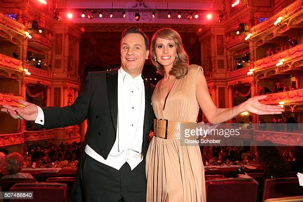 Fashion designer Guido Maria Kretschmer and Mareile Hoeppner during the Semper Opera Ball 2016 at Semperoper on January 29 2016 in Dresden Germany