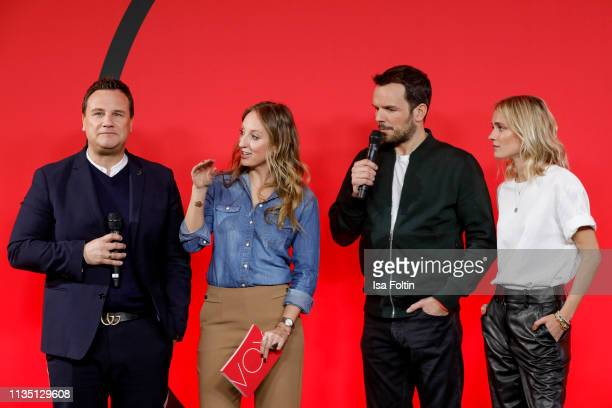 Fashion designer Guido Maria Kretschmer German presenter Laura Dahm TV cook Steffen Henssler and German presenter Annie Hoffmann attend the press...