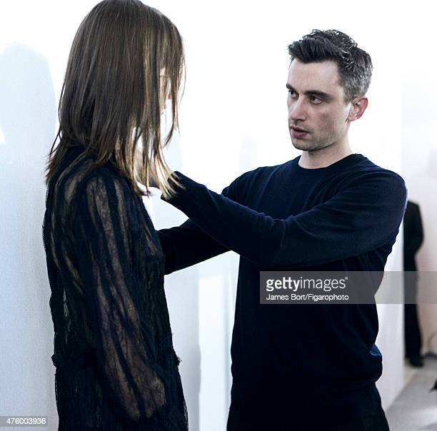 Fashion designer Guillaume Henry is photographed for Madame Figaro backstage at Nina Ricci's Autumn/Winter 2015-2016 prêt-à-porter show on March 6,...