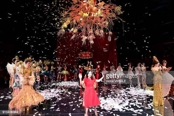 Fashion designer Guo Pei walks the runway during the Guo Pei Haute Couture Spring Summer 2018 show as part of Paris Fashion Week on January 24 2018...