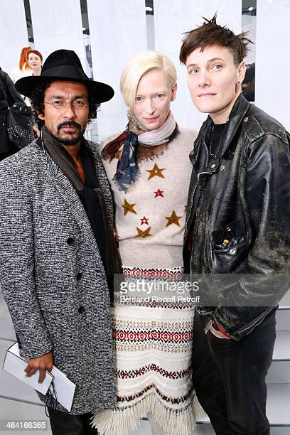 Fashion Designer Haider Ackermann actress Tilda Swinton and Swimmer Casey Legler attend the Chanel show as part of Paris Fashion Week Haute Couture...