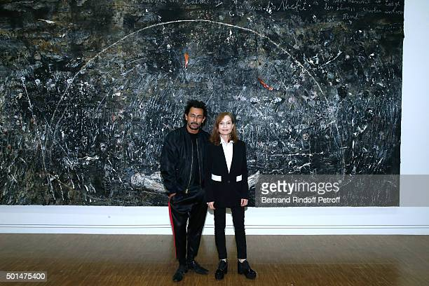 Fashion Designer Haider Ackermann and Actress Isabelle Huppert attend the Anselm Kiefer's Exhibition Press Preview held at Centre Pompidou on...