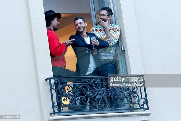 Fashion designer Haider Ackermann and guest attend the Private Concert at Galerie Perrotin in Paris on May 26 2014 in Paris France