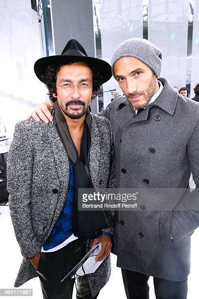 Fashion Designer Haider Ackermann and Sebastien Jondeau pose backstage after the Chanel show as part of Paris Fashion Week Haute Couture...