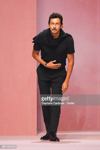 Fashion designer Haider Ackermann walks the runway during the Berluti Menswear Fall/Winter 20182019 show as part of Paris Fashion Week January 19...