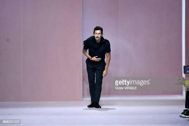 Fashion designer Haider Ackermann walks the runway during the Berluti Plus Menswear Fall/Winter 2018-2019 show as part of Paris Fashion Week on...