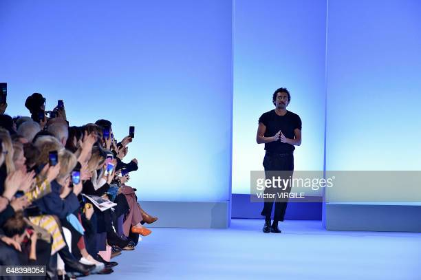 Fashion designer Haider Ackermann walks the runway during the Haider Ackermann Ready to Wear fashion show as part of the Paris Fashion Week...