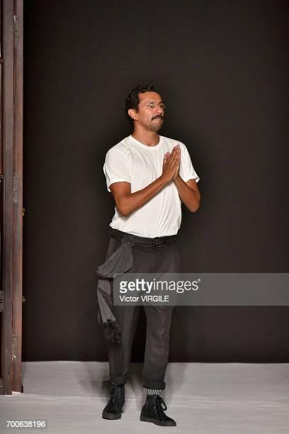 Fashion designer Haider Ackermann walks the runway during the Haider Ackermann Menswear Spring/Summer 2018 show as part of Paris Fashion Week on June...