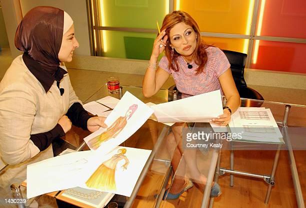 Fashion designer Hanadi Shahabedine talks to Morning Show host Paula Baakline Abou Haidar during a dress rehearsal for the premiere of HEYA TV...