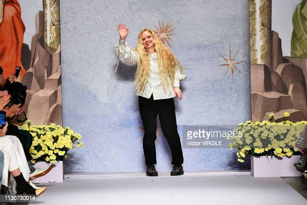 Fashion designer Hannah Weiland walks the runway at the Shrimps Ready to Wear Fall/Winter 20192020 fashion show during London Fashion Week February...
