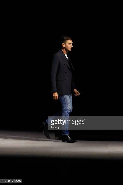 Fashion designer Hedi Slimane during the Celine show as part of the Paris Fashion Week Womenswear Spring/Summer 2019 on September 28 2018 in Paris...