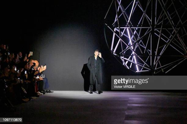 Fashion designer Hedi Slimane walks the runway during the Celine Menswear Fall/Winter 20192020 show as part of Paris Fashion Week on January 20 2019...