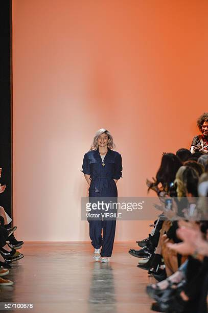 Fashion designer Helo Rocha walks the runway at the Helo Rocha fashion show during the Sao Paulo Fashion Week Spring/Summer 20162017 on April 28 2016...