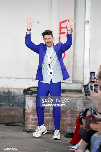 Fashion designer Henry Holland on the runway at the finale of his show at the House of Holland show during London Fashion Week September 2018 at My...