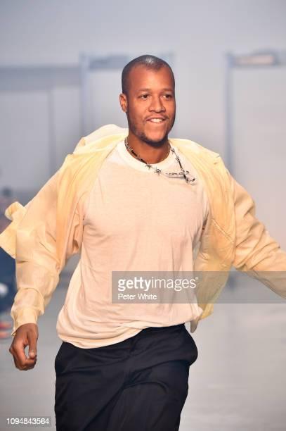 Fashion designer Heron Preston walks the runway during the finale of Heron Preston Menswear Fall/Winter 2019-2020 show as part of Paris Fashion Week...
