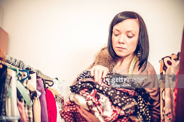 Fashion Designer Holding Clothes, Copy Space