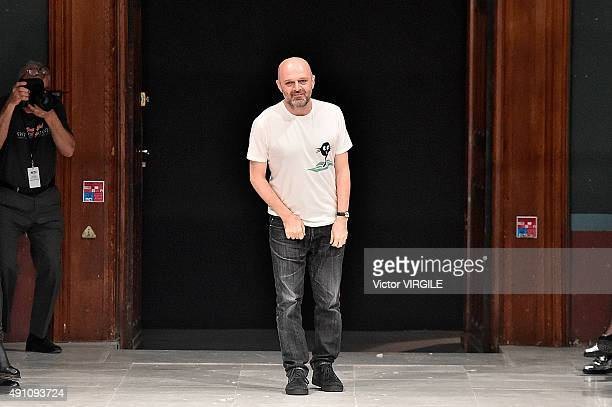 Fashion designer Hussein Chalayan walks the runway during the Chalayan Ready to Wear show as part of the Paris Fashion Week Womenswear Spring/Summer...