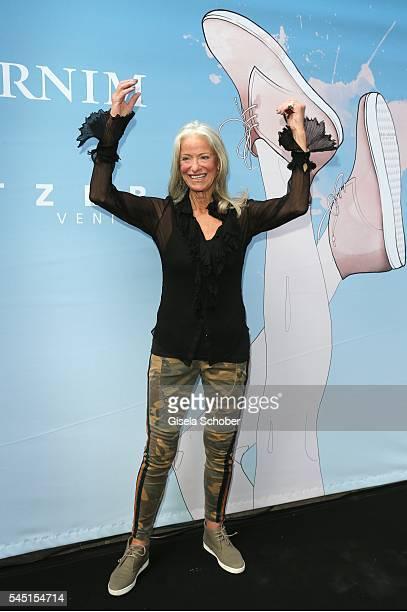Fashion designer Iris von Arnim during the Iris von Arnim by Unuetzer launch party of the cashmere sneaker at Bob Beaman Club on July 5 2016 in...
