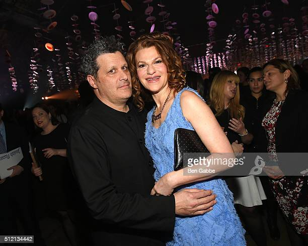 Fashion designer Isaac Mizrahi and comedian Sandra Bernhard attend the Jewish Museum's Purim Ball at the Park Avenue Armory on February 24 2016 in...