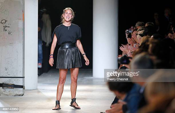 Fashion designer Isabel Marant acknowledges the audience at the end of her 2015 Spring/Summer readytowear collection fashion show on September 26...