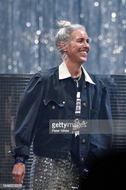 Fashion designer Isabel Marant walks the runway during the Isabel Marant show as part of the Paris Fashion Week Womenswear Spring/Summer 2019 on...