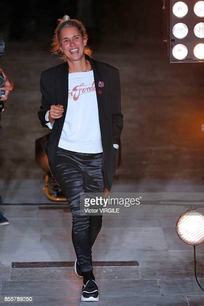 Fashion designer Isabel Marant walks the runway during the Isabel Marant Ready to Wear Spring/Summer 2018 fashion show as part of the Paris Fashion...